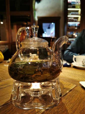 Turkish tea in traditional glass on board closeup