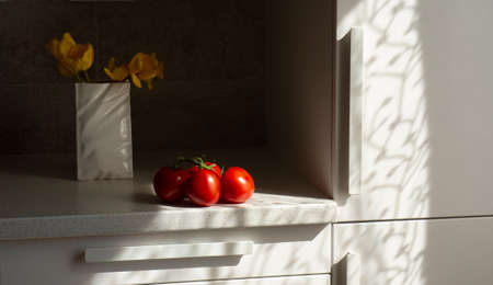 ripe tomatoes ready to eat in the kitchen room