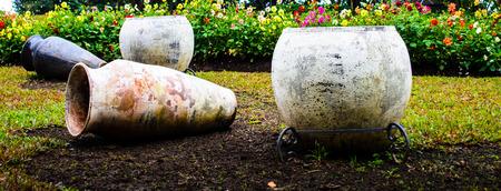 ceramicist: Clay pots in garden