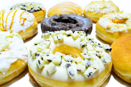 A selection of donuts with different toppings