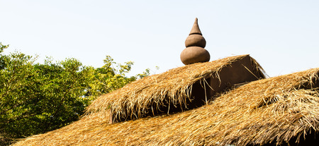 thatched: Traditional thatched roof on typical Thai hut Stock Photo