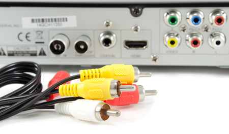 vcr: AV cable against background of VCR powerboard Stock Photo
