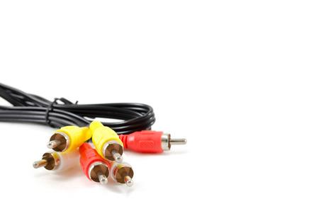 av: AV cable photographed in isolation on white