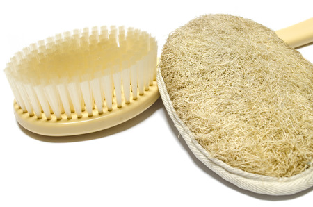 scrubbers: Long handled brush and hand held scrubbers Stock Photo