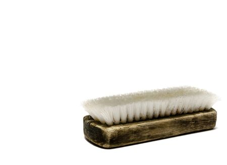 sanitizing: Scrubbing brush in old condition on white