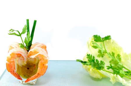 shrimp cocktail: Shrimps and sauce prepared for shrimp cocktail Stock Photo