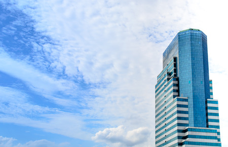 building feature: Modern office building with upward hotel feature