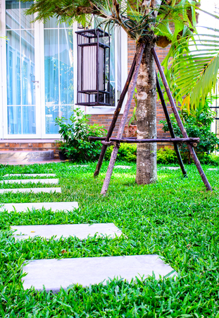 stepping on: Stepping stones across lawn in outdoor garden