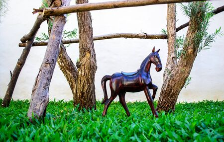 lawn gnome: Miniature horse statue  used for garden decor Stock Photo