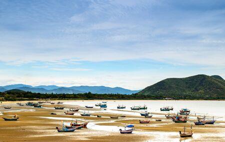 fishing fleet: Fleet of small fishing boat at bay