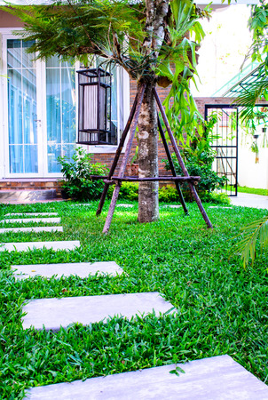 stepping: Stepping stones across lawn in outdoor garden