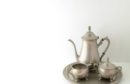 tea service: Three piece silver tea service on tray