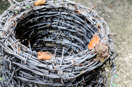 furl: Coils of barbed wire ready for use