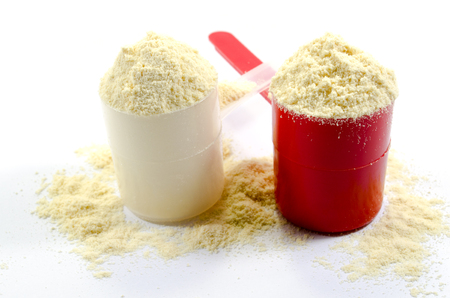 albumin: Whey protein in measuring scoops on white background