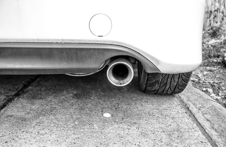 exhaust pipe: Black and white modern car exhaust pipe