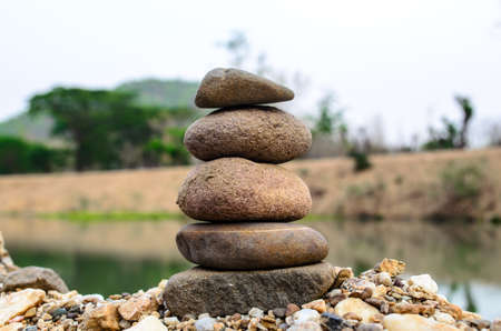 overlap: View of the overlap stone by the river Stock Photo