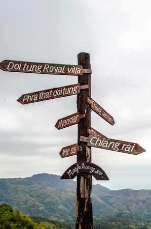 Familiar signpost at the Doi Tung view point
