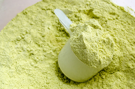 Close up a scoop of green tea flavor whey protein