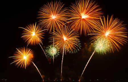 Explosion of fireworks at Christmas and New Year display Stock fotó