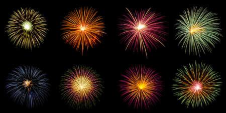Group of explosion of fireworks on black background Banque d'images