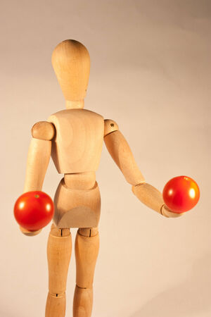 A mannequin person holding two tomatoes photo