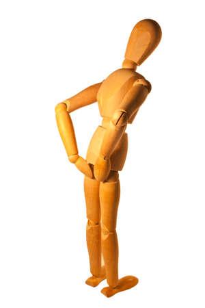 bending down: Persona Maniqu� agach�ndose con los brazos en las nalgas Foto de archivo