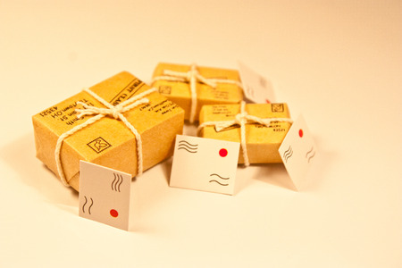 A group of parcels and envelopes to be delivered