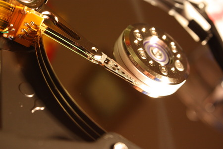 terabyte: A macro view inside a hard disk drive HDD