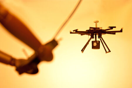 drone: A mannequin using an unmanned system....otherwise known as a drone. Stock Photo