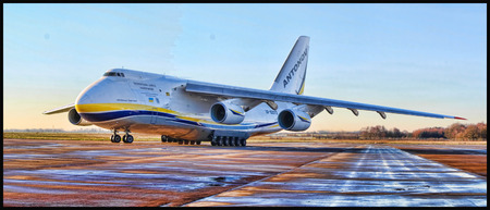 One of the Worlds largest cargo aircraft, the Antanov 124-100.  This amazing aircraft dominates the skies and the airports it travels through.
