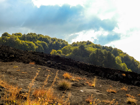 A view of one of the Worlds most active Volcanoes, Mount Etna, which is located in Sicily in Italy.