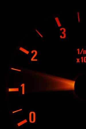 An illuminated rev counter shows the needle jumping as the accelerator is pressed.