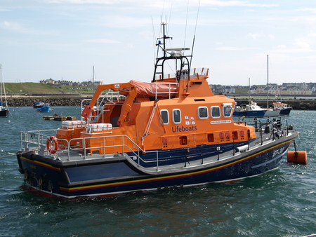 The RNLI Lifeboat, sitting anchored off the coast of Northern Ireland.
