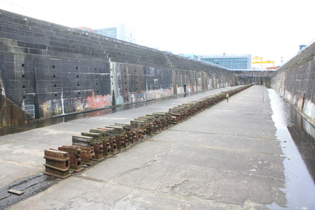 This is the dry dock that Titanic once sat, many years before its disaster.  The dock sits in Belfast, Northern Ireland.