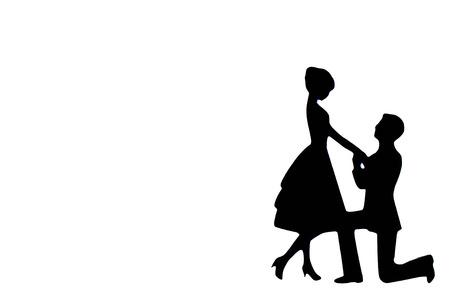 Un uomo si inginocchia per proporre al suo prezioso partner.