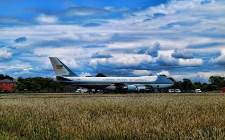 boeing 747: A huge Boeing 747 aircraft, one of the worlds most beautiful aircraft with its 2 deck airframe.  This special aircraft is Air Force One which ferries around the current President Donald Trump.