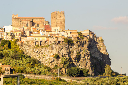 A view of the beautiful town of Motta, Sicily.  Close also to the World famous landmark, Mount Etna.