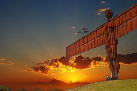 October 05, 2014 – Angel of The North, Newcastle, England, United Kingdom. The Angel of The North is one of the most beautiful designed landmarks of the UK. It's stunning architecture is breath-taking and the sheer size of it is unbelievable. Éditoriale