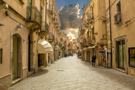 A view of the beautiful city of Taorimina city, in Sicily, Italy.