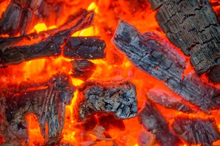 A look deep into a well lit fire.