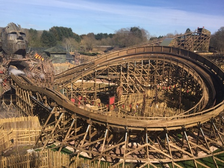 April 03, 2018 – Alton Towers, England, United Kingdom. Alton Towers is one of the UK's largest theme parks, here is a view of just one of it's huge rollercoasters, the Wicker Man. Editorial