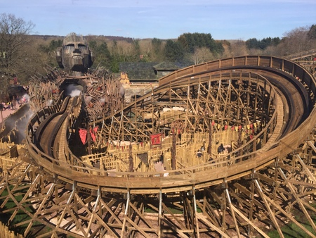 April 03, 2018 – Alton Towers, England, United Kingdom. Alton Towers is one of the UK's largest theme parks, here is a view of just one of it's huge rollercoasters, the Wicker Man.