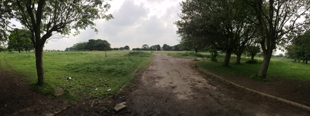A view across open scrub ground to which a large school once sat, in England, UK.
