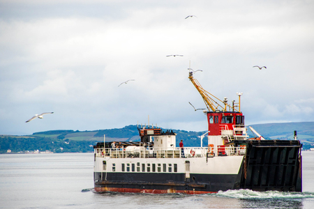 A ferry operating at the coast of Ayrshire, in Scotland.