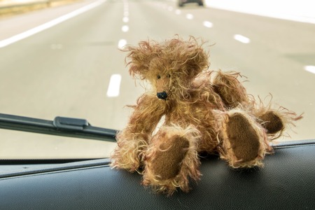 A cuddly bear on it's travels in a motorhome. Stockfoto