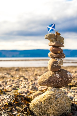A stack of stones on the beach of Scotland. Banque d'images