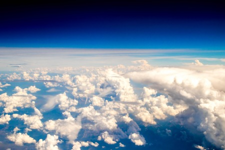 A view from altitude of a storm build up. 版權商用圖片