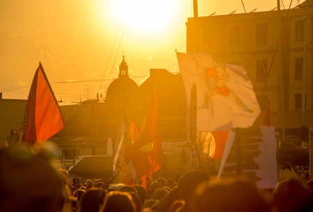 A protest within the heart of Catania, Sicily, at the harbor for the release of migrants onboard a rescue ship.