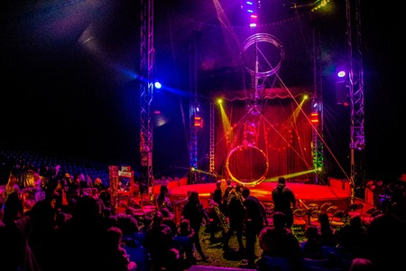 A view from inside of a giant circus tent. Imagens