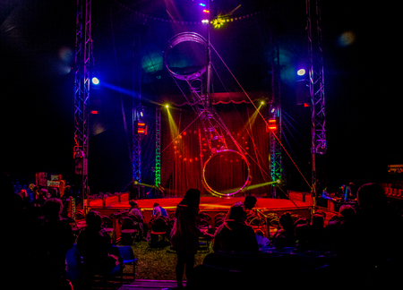 A view from inside of a giant circus tent.